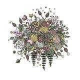 Vector vastgestelde bloemen in krabbelstijl Royalty-vrije Stock Fotografie