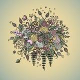 Vector vastgestelde bloemen in krabbelstijl Stock Afbeeldingen