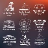 Vector Vastgestelde Brandingskentekens, Teken en Emblemen royalty-vrije illustratie