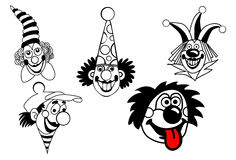 Vector vastgestelde clown Stock Afbeeldingen