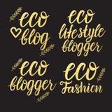 Vector Vastgestelde Eco-manier, blogger, de blog het gouden inschrijving van de ecolevensstijl van letters voorzien op een zwarte Royalty-vrije Stock Afbeelding