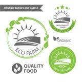 Vector vastgestelde emblemen van ecolandbouwbedrijf en natuurvoeding Organische kentekens en etiketten vector illustratie