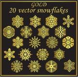 Vector vastgestelde gouden sneeuwvlokken op zwarte achtergrond Stock Afbeelding