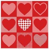 Vector vastgestelde hartenillustratie De harten van de valentijnskaart Inzameling van harten voor decoratieprentbriefkaaren Stock Afbeelding