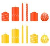 Vector vastgestelde kaarsen Stock Fotografie
