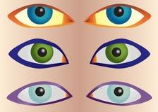Vector vastgestelde ogen Stock Fotografie