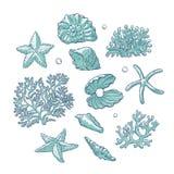 Vector vastgestelde overzeese shells speelt koralen en parels verschillende vormen mee Schets van het de poliepen de zwart-wit ov royalty-vrije illustratie