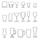 Vector Vastgestelde Schets Stemware Glazen voor Alcohol, Cocktail en Frisdrank vector illustratie