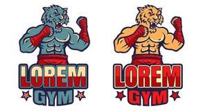 Vector vastgestelde sportemblemen met tijger stock illustratie
