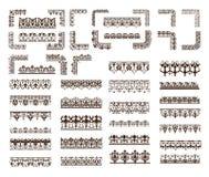 Vector vastgestelde uitstekende Kantornamenten, hoeken, grenzen Stock Foto