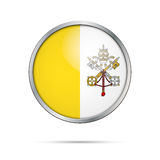 Vector Vatican City State flag in glass button style. Vatican City State flag glass button style with metal frame stock illustration