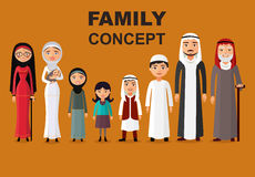 Vector - vector arab family, muslim people, saudi cartoon man and woman. Arab people father, mother, son, daughter, grandmother an Stock Photography