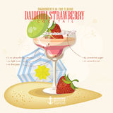 Vector Vector illustration of Vector illustration of popular alcoholic cocktail. Daiquiri strawberry club alcohol shot. Royalty Free Stock Images