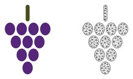 Vector Veelhoekig Mesh Grape Berry en Vlak Pictogram royalty-vrije illustratie