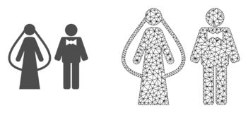 Vector Veelhoekig Mesh Weds Persons en Vlak Pictogram royalty-vrije illustratie
