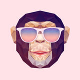 Vector veelhoekig portret van aap De aap van de driehoeksillustratie voor gebruiksdruk op t-shirt en affiche Geometrische laag Stock Fotografie