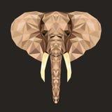 Vector veelhoekig portret van olifant Driehoeksillustratie van dier voor gebruik als druk op t-shirt en affiche Geometrisch laag  Royalty-vrije Stock Foto's