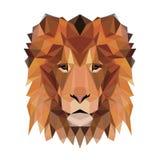 Vector veelhoekige die leeuw op wit wordt geïsoleerd Royalty-vrije Stock Afbeelding