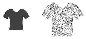 Vector Veelhoekige Netwerkt-shirt en Vlak Pictogram royalty-vrije illustratie