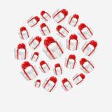 Vector veelhoekige rode die giftdozen in een cirkel worden gemaakt royalty-vrije illustratie