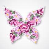 Vector veelkleurige vlinder Document vlinderembleem met rozen Stock Afbeeldingen