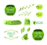 Vector Vegan Menu Packaging Labels Icons, Isolated Marks, Watercolor Elements. vector illustration