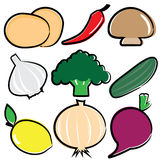 Vector vegetable icon set. Clipart vector vegetable icon set Stock Photography