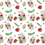 Vector Vegetable pattern. Hand drawn seamless pattern with vegetables Royalty Free Stock Photos
