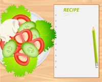 Vector vegetable salad and notebook. Vector vegetable salad and notebook on wood background. Flat lays style vector illustration