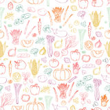 Vector vegetables background. Seamless vegetables pattern. Stock Image