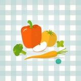 Vector vegetables, fruit illustration on checkered tablecloth background. Vector vegetables, fruit illustration. Minimalist fresh food icon in flat style Royalty Free Stock Images