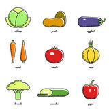 Vector vegetables icon set Royalty Free Stock Photography
