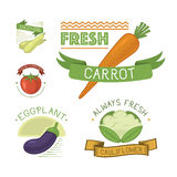 Vector vegetables label template icon. Stock Photos