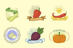 Vector vegetables label template icon. Royalty Free Stock Photography