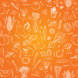 Vector vegetables pattern. Vegetables seamless background. Royalty Free Stock Photography