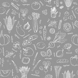 Vector vegetables pattern. Vegetables seamless background. Stock Image