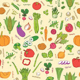 Vector vegetables pattern. Vegetables seamless background. Stock Photo