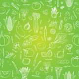 Vector vegetables pattern. Vegetables seamless background Stock Photos