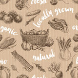 Vector vegetables retro seamless pattern Stock Photos