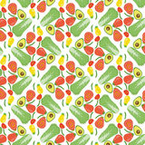 Vector vegetables seamless pattern  with Chinese cabbage, tomato Royalty Free Stock Photos