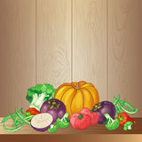 Vector vegetables set with broccoli, green string beans, tomatoe Stock Images