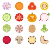 Vector vegetables set of icons rounded style Royalty Free Stock Image