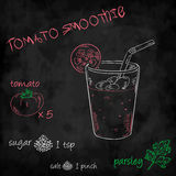 Vector vegetables smoothie with ingredients list. tomato, sugar, salt and parsley Royalty Free Stock Image