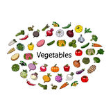 Vector vegetables and word. Vegetarianism. Stock Photo