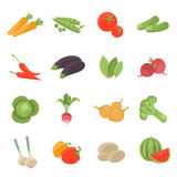 Vector vegetarian vector icons set. Stock Photo