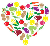 Vector veggies heart Stock Photos