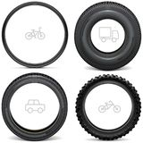 Vector Vehicle Tires with Line Icons Royalty Free Stock Photography