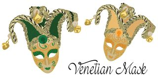 Vector Venetian Masks. Venetian Masks in Green and Golden Colours. Carnaval in Venice Royalty Free Stock Photo