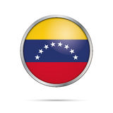 Vector Venezuelan flag button. Venezuela flag in glass button st Stock Photography