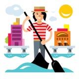 Vector Venice gondola, gondolier rowing oar. Flat style colorful Cartoon illustration. Royalty Free Stock Images
